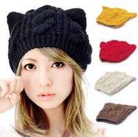 Wholesale Korean Cat Beanie - Wholesale-Cat Ears Cute Hats for women brand knitting warm 2014 korean fashion hot selling lovely Beanies Winter knitted Cap Free shipping