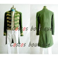 Wholesale Cinderella Costumes Adults - Princess Cinderella Prince Charming Kit Uniform Outfit Middle Ages Costume Adult Men medieval suit green