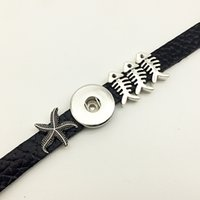 Wholesale Starfish Jewelry Sets - Fashion Sale Time-limited Insect Jewelry Bracelet Starfish Fish Retro Leather Snap Button Bracelet Bt117 (fit 18mm 20mm Snaps) party dress j