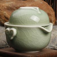 Wholesale Tea Fishing Cup - 12zp-5b Longquan celadon tea set of Kung Fu Tea Set Cup Cup fish Quik Portable Travel Office