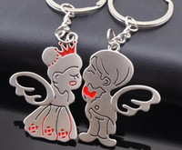 Wholesale Keychain Grooms - Angel Kiss Couple Metal Keychain Lovers Keyring Key Chain Alloy angel wings Boy and Girl Keyrings for Wedding bride and groom