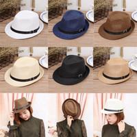 Wholesale Solid Fedora Kids - Spring Summer Men Women Chlidren Straw Hats Soft Fedora Panama Hats Outdoor Boys Girls Kids Stingy Brim Jazz Caps Top Hats Belt Buckle GH-61