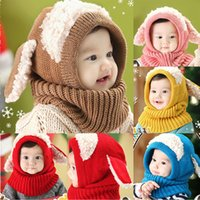 Wholesale Knitting Earflap Hat - Winter Rabbit Ear Kids Baby Hats Lovely Infant Toddler Girl Boy Beanie Cap Warm Baby Hat+Hooded Knitted Scarf Set Earflap Caps CH001