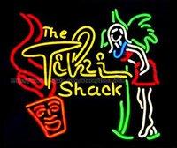 luz de señal de neón tiki bar al por mayor-The Tiki Shack Beer Bar Letrero de neón Tienda personalizada KTV Club Discoteca Anuncio Mostrar Real Glass Tube Neon Light Signs 24