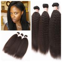 weave reto do cabelo humano do kinky afro venda por atacado-Frete grátis top grade afro kinky em linha reta cabelo humano grosso 8-30 yaki kinky em linha reta Natural Cor tecer cabelo humano 3 pcs muito G-EASY