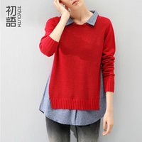 Wholesale jeans blouses women - Wholesale-Toyouth Spring Autumn Women Turn Down Collar Jeans Patchwork Contrast Color Slit Hem Fake Two Pieces Knitted Sweater Blouse