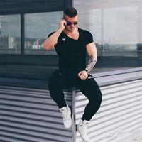 Wholesale Wholesale Fitness Clothing For Men - Wholesale-The Boy Personality Oblique Hem Short Sleeve T Shirt Men Clothing fitness cotton brand clothes for men bodybuilding Tee large