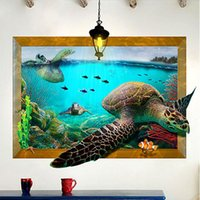 Wholesale Nature Pictures Wallpapers - Fake Picture Frame Undersea World Turtle Wall Stickers Home Decor 3D Simulation Wallpaper Poster Art Living Room Bedroom Wall Graphic Decals