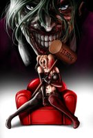Wholesale Framed Comic - High Quality Genuine Handpainted Wall Decor Comic Art oil Painting On Canvas,harley quinn & the joker any sizes