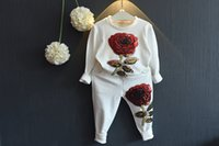 Wholesale baby girl hip hop clothes resale online - Girl Hip Hop Set Fashion Autumn Children Clothing Long Sleeve Shirts Pants Sequin Rose Flowers Baby Sport Suit Chothes