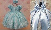 faire des arcs de bébé achat en gros de-Joli bébé première communion robes avec perles Appliques grand arc enfants tenue de soirée sur mesure robes de soirée robe de bal