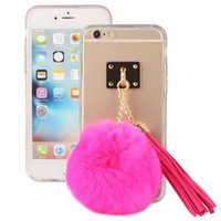 Wholesale Cute Rabbit Leather Case - Cute 3D Rabbit Fur Hair Plush Ball With PU Leather Tassel Clear Soft TPU Back Cover Case for Iphone 6 6s 7 7 plus 8 8 plus Samsung S6 S7 S8