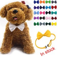 Wholesale Dog Collar Bow Tie - 2017 Adjustable Pet Dog Bow Tie Neck Accessory Necklace Collar Puppy Bright Color Pet Bow Mix Color XL-G228