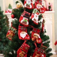 Wholesale Striped Santa Socks - Christmas Reindeer Socks Santa Snowman Elk Christmas Stockings Cute Ornaments Festival Party Xmas Tree Hanging Decor OOA2835