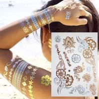 altın flaş takı toptan satış-500 Stilleri Vücut sanatı zincir altın dövme geçici dövme dövme flaş Tats dövme metalik dövme takı transferi dövmeler geçici çıkartmalar