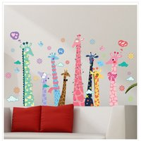 gifts for country boys - 60 cm Giraffe Wall Stickers pc living room sofa TV background PVC romantic decoration wall stickers DIY boy girl cartoon gift