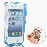 Wholesale iphone 4s cases slim - 360 Degree Full Protective Soft TPU Cover Case For iPhone 4 4s 5s 6s plus 7 Plus Clear Transparent Slim Front+Back Touch Phone Case