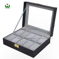 Wholesale Grids Brand New - 10 Grids Slot PU New Bias Leather Brand Logo Watch Box Display Organizer Glass Top Jewelry Storage ORGANIZER BOX BLACK Grey Interial