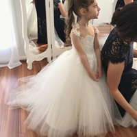 Wholesale Wedding Dresses Round Back - Ball Gown Round Neck Sheer Back White Tulle Flower Girl Dress with Lace First Communion Dress Kids Wedding Gowns Custom Made