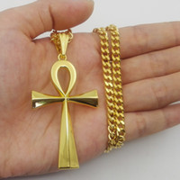 Wholesale Key Shaped Jewelry - MCW Hip Hop Style Ankh Cross Pendant Egyptian Ankh Key Shape Pendant Necklace Jewelry Two Colors
