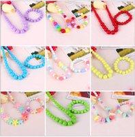 bijoux enfants mignons achat en gros de-Cute Sweet Candy Color Kids Bijoux 2pcs Enfants Collier Bracelet Ensembles pour Fille Cadeau Multicolore choisir