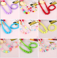 Wholesale Candy Jewelry For Kids - Cute Sweet Candy Color Kids Jewelry 2pcs Children Necklace Bracelet Sets for Girl Gift Multicolor choose