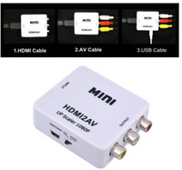 Wholesale Hdmi Adapter Rca - HDMI Converter HDMI to AV RCA digital analog converter HDMI TO AV audio video factory outlets HDMI2AV 1080P Free DHL Shipping