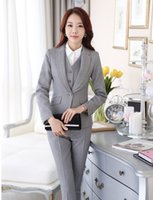 Wholesale Dark Grey Work Pants - Wholesale-Formal Uniform Style Pantsuits Ladies Office Business Women Work Suits With Blazers And Pants Female Trousers Clothing Sets