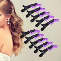 Wholesale Free Bang Clip - Wholesale- 10PCS Purple Salon Hair Clip Non-Slip Alligator Hairdressing Sectioning Hairpin Bang Bobby Pins free shopping