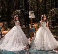Wholesale Beaded Wedding Dresses Butterfly - 2017 Flower Girls Dresses Weddings Jewel Neck Illusion Lace Appliques Beaded Butterfly Short Sleeves Birthday Children Girl Pageant Gowns