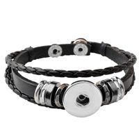 Wholesale Snake Leather Wholesale - Wholesale-P00646 Wholesale Snap Button Bracelet&Bangles 10 color High quality leather Bracelets For Women 18mm Rivca Snap Button Jewelry