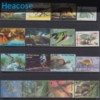 Wholesale Postage Labels - Wholesale-50 pieces Dinosaur all different postage stamps used brands label, selos marca carimbo franqueo marca matasellos collection