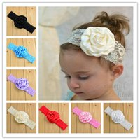 Wholesale Lace Rosettes Wholesale - 14colors satin rose flower for baby hairband satin rosette flower for baby lace elastic headbands hair accessories free shipping