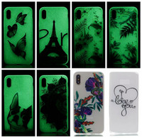 Wholesale Case Iphone Dogs - Flower Luminous Glow In the Dark Soft TPU Case For Iphone X Galaxy Note 8 Note8 Eiffel Tower Lace Skull Ultra thin Dog Clear Skin Cover