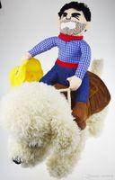 divertidos disfraces sombreros al por mayor-Riding traje de perro de caballo con sombrero de vaquero para perro pequeño perro grande mascota gato divertido golden retriever fiesta de Halloween ropa custome