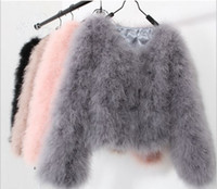 Wholesale Turkey Feather Coats - Coustomize Fashion women faux fur coat sexy Ostrich wool turkey fur coat long sleeve candy color feather fur short jacket