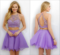 Wholesale Halter Sleeveless Short Mini Chiffon - New Two Pieces Short Homecoming Dreses 2016 Halter Beading Open Back Tutu Skirt Chiffon Lilac Prom Party Cocktail Gowns Cheap Custom Made