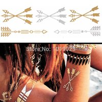 Wholesale Indian Hot Belly - 6PCS Lot Hot 12 Mix Gold Body Art Waterproof Tattoo Sticker Indian-style Feather Flower Design Sexy Flash Temporary Tattoo