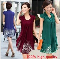 Wholesale Medium Long Dresses - Women's Short-sleeve dress female medium-long skirt summer clothing chiffon skirt Multi Colors plus size: M~5XL Free Shipping