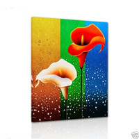 Wholesale Flowers Contemporary - Bright-coloured Flowers,Pure Hand Painted contemporary WALL DECOR Art Oil Painting On Quality Canvas.customized size accepted moore2012