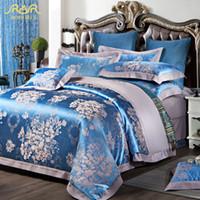 Wholesale Gray Satin Comforter - ROMORUS Luxury Satin Jacquard Bedding Sets Queen Size Duvet Cover Bed Linen Set 100% Cotton Bed in a Bag Fundas Nordicas