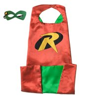 Wholesale Plus Size Halloween Cape - 15 styles L110*70cm Adult Superhero capes cape with mask set Satin fabric Spiderman Flash Robin Ironman Halloween Cosplay costumes