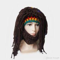 Wholesale Long Men Hair Wig - Rasta Wig Hat Beanie Men's Caps Handmade Crochet Winter Warm Hat Gorro Xmas Birthday Gifts Funny Party Balaclava Long Colorful Hair