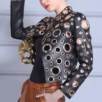 Wholesale Moto Coat - Fashion Cool Golden Leather Jacket Women Metal circle Moto Coat Punk Rock Faux Jacket jaquetas couro Casaco chaquetas Jacket