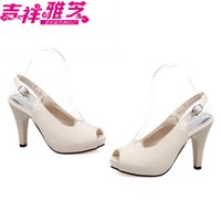 Wholesale Taper Dress - Japanned leather sexy open toe after ultra high heels with taper plus size female sandals small yards 3233 4043 free shipping