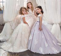 Wholesale Purple Rhinestone Crystal Beads - Arabic 2017 Lace Vintage Flower Girl Dresses Sheer Neck Crystals Child Dresses Beautiful Flower Girl Wedding Dresses F060