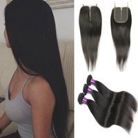Wholesale Straight Indian Hair For Sale - 8A Peruvian Straight Hair with Lace Closure 4pcs lot Top Quality Brazilian Malaysian Indian Cambodian Straight Human Hair Weaves For Sale