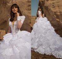 vestido bordado das luvas do laço venda por atacado-2019 Lace Branco vestido de Baile Vestidos de Casamento com Cristal Bordado Manga Curta Keyhole Voltar Ruffled Lace Tulle Vestidos de Noiva