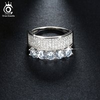 Wholesale Ring Mm Diamond - Luxury White Gold Plated Silver Ring with 5 Piece 4 mm Simulated Diamond Micro Pave 4 Rows Brilliant Austrian Zircon OR112