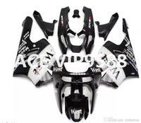 Wholesale Kawasaki Zx9r Black - 3 gifts Fairing Kit for KAWASAKI Ninja ZX9R 94 97 ZX 9R 1994 1997 Compression mold Fairings set Black White P31